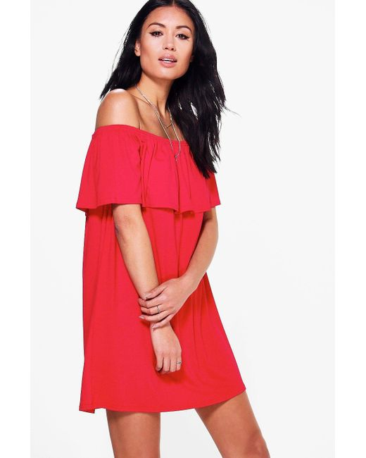 Boohoo | Red Pixie Off The Shoulder Swing Dress | Lyst