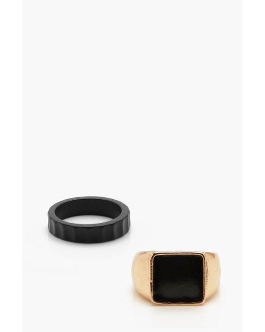 Boohoo - Metallic Ringset mit Siegelring for Men - Lyst