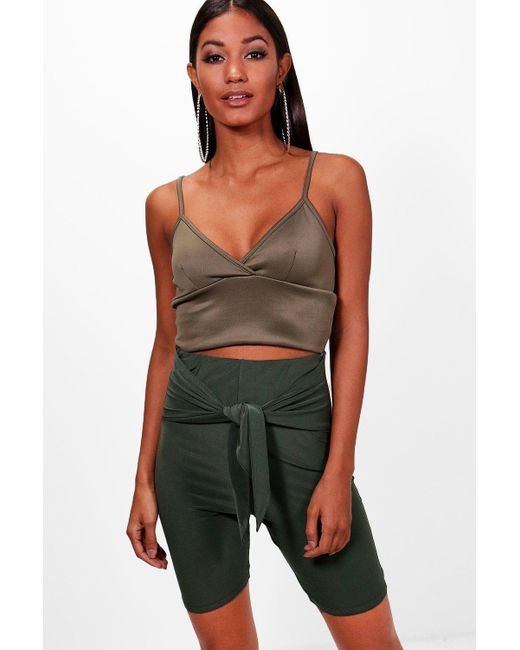 Boohoo - Green Wrap Tie Front Cycling Shorts - Lyst