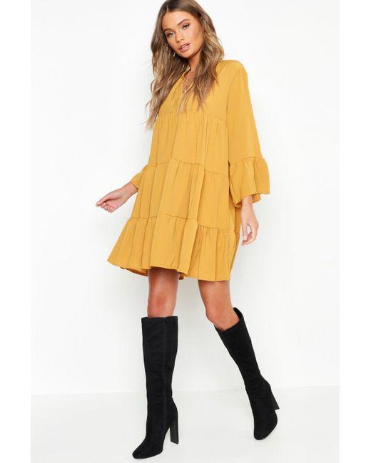 c6dbc4f74962 Boohoo - Yellow Woven Tiered Shirt Dress - Lyst ...