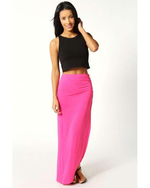 6f59bf6e94d73 Boohoo - Pink Petite Michelle Viscose Maxi Skirt - Lyst ...