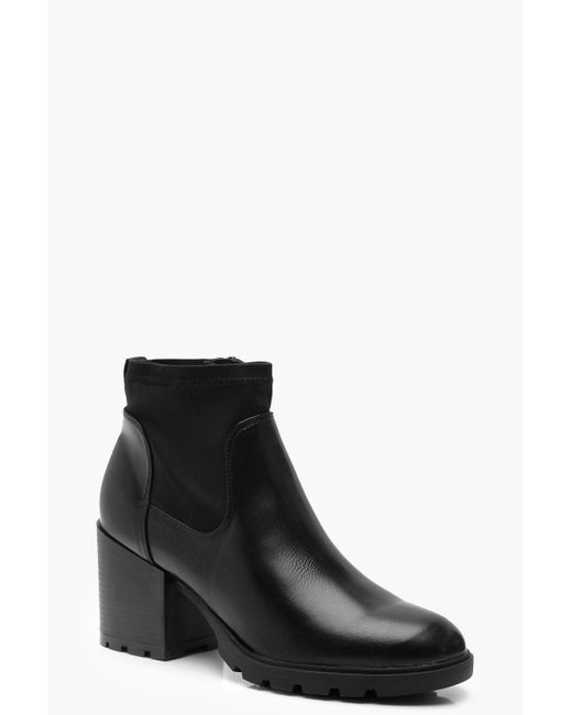 5bcc8143b1e1 Boohoo - Black Chunky Block Heel Sock Boots - Lyst ...