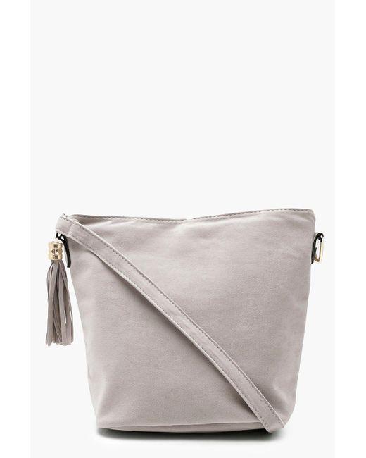 Boohoo - Gray Laura Suedette Bucket Cross Body Bag - Lyst