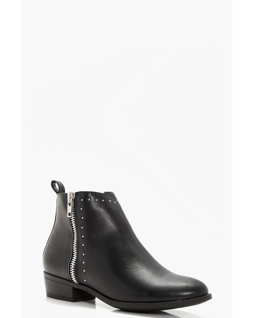 Boohoo - Black Anna Wide Fit Pin Stud And Zip Ankle Boot - Lyst