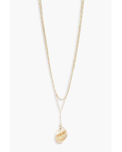 Boohoo - Metallic Statement Shell Necklace - Lyst