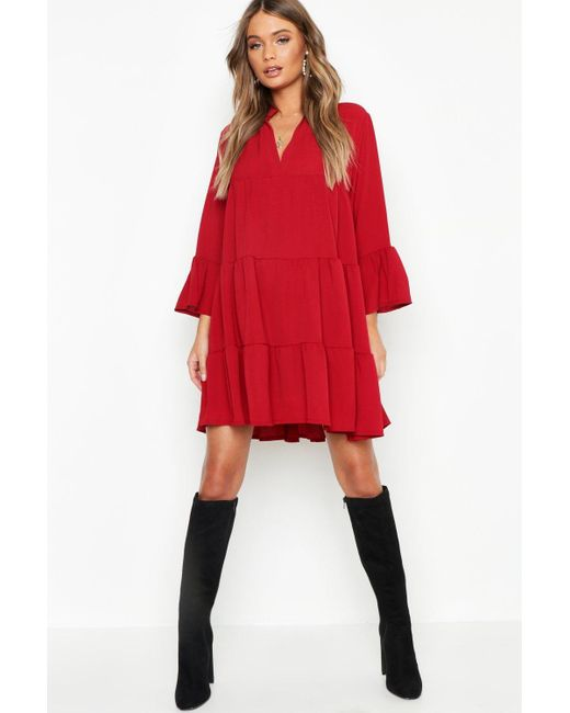 229e1b318117 Lyst - Boohoo Woven Tiered Shirt Dress in Red
