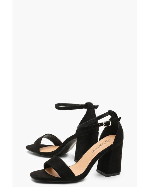 6c61036bf1bf ... Boohoo - Black Wide Fit Square Toe Two Part Block Heels - Lyst ...