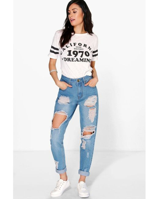 aefef11256cf Boohoo - Blue High Waist Light Wash Distress Mom Jeans - Lyst ...