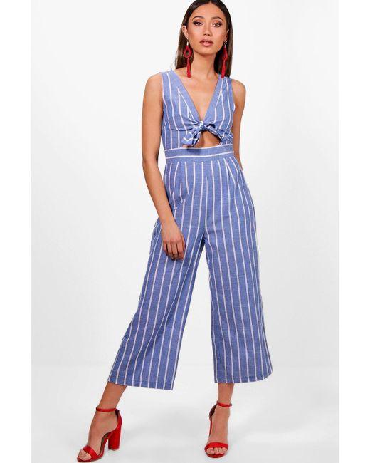 1c5ea39b5faf Boohoo - Blue Stripe Tie Front Culotte Jumpsuit - Lyst ...