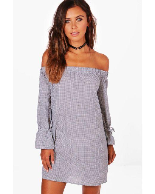Boohoo - Blue Petite Georgie Gingham Off The Shoulder Shift Dress - Lyst