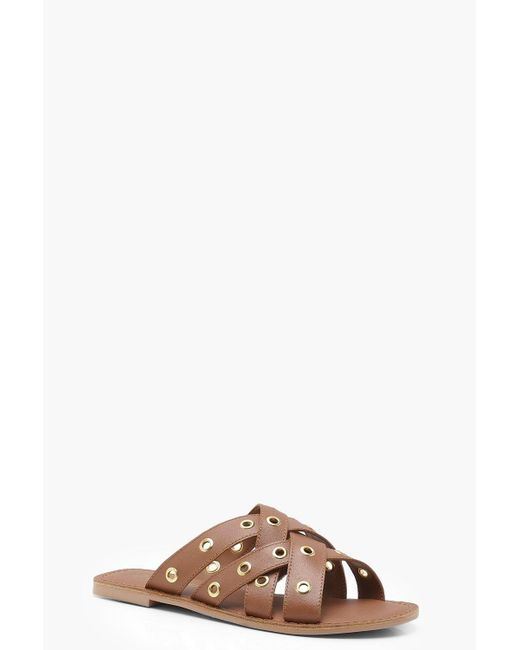 Boohoo - Brown Eyelet Woven Strap Leather Sandals - Lyst