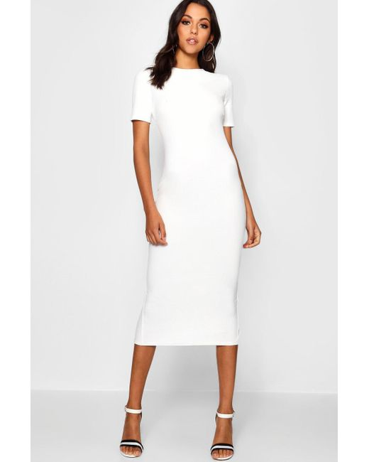 57c81d8dc35 Boohoo - White Tall Short Sleeve Tailored Midi Dress - Lyst ...