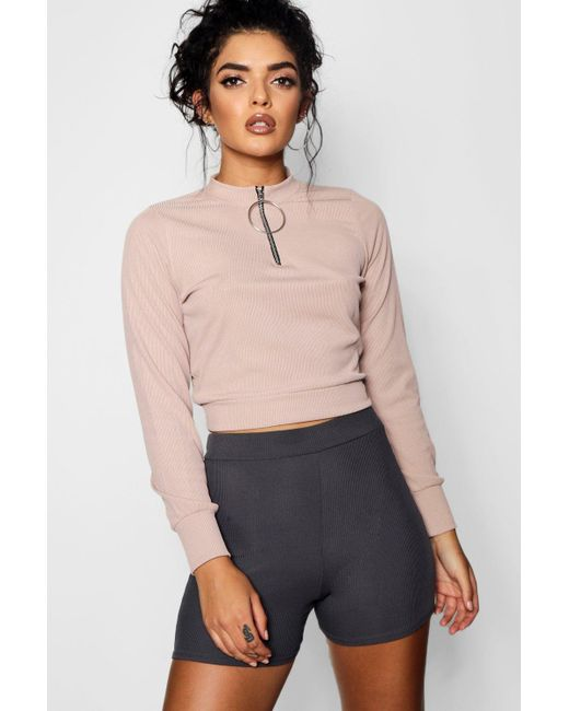 Boohoo - Multicolor Fredia O Ring Zip High Neck Top - Lyst
