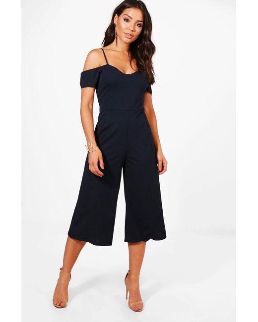 0f6f7660a3236c Boohoo - Blue Off The Shoulder Culotte Jumpsuit - Lyst ...