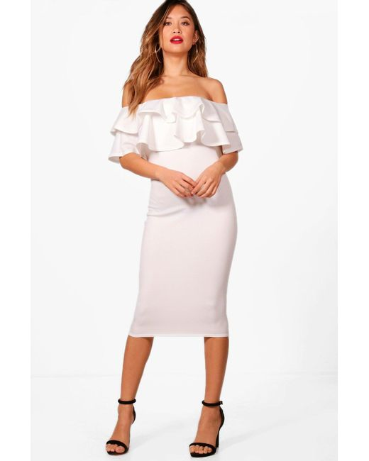 1dffa04cd0c0b Boohoo - White Bardot Layered Frill Detail Midi Dress - Lyst ...