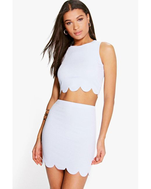 Boohoo | Blue Nataly Scallop Top & Mini Skirt Co-ord Set | Lyst