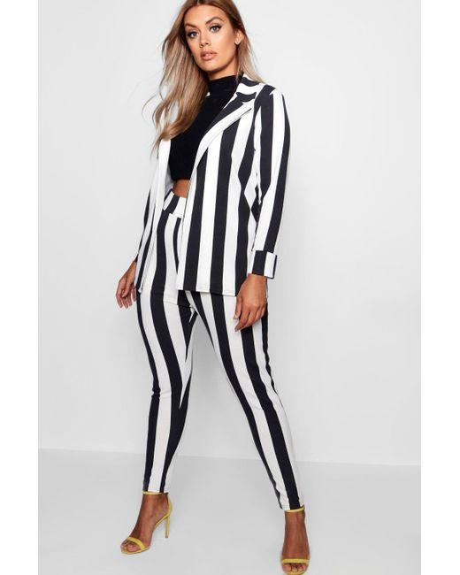 Boohoo - Black Plus Striped Suit Co-ord - Lyst