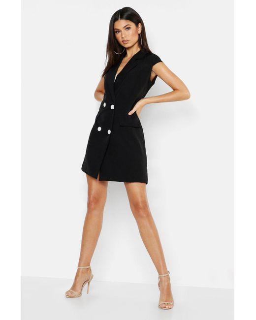11653e25adde8d Boohoo - Black Woven Short Sleeve Double Breasted Blazer Dress - Lyst ...