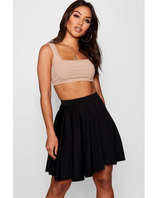 d31b54e542 Boohoo - Black Basic Scuba Mini Skater Skirt - Lyst ...