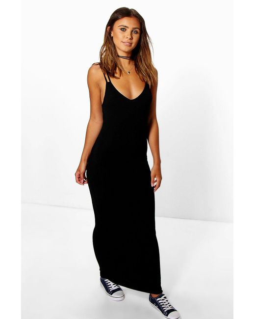 579b280a2a4c Boohoo - Black Petite Strappy Basic Maxi Dress - Lyst ...