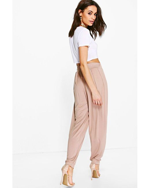 c6c56024c4bd ... Boohoo - Multicolor Pleat Front Jersey Hareem Trouser - Lyst ...