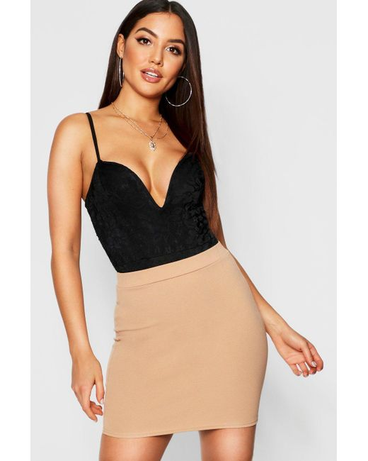 b2a7904a1c Boohoo - Black Basic Pastel Crepe Micro Mini Skirt - Lyst ...