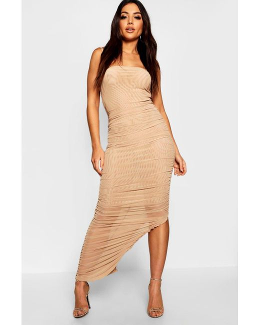 Boohoo - Natural Ruched Front Detail Maxi Dress - Lyst