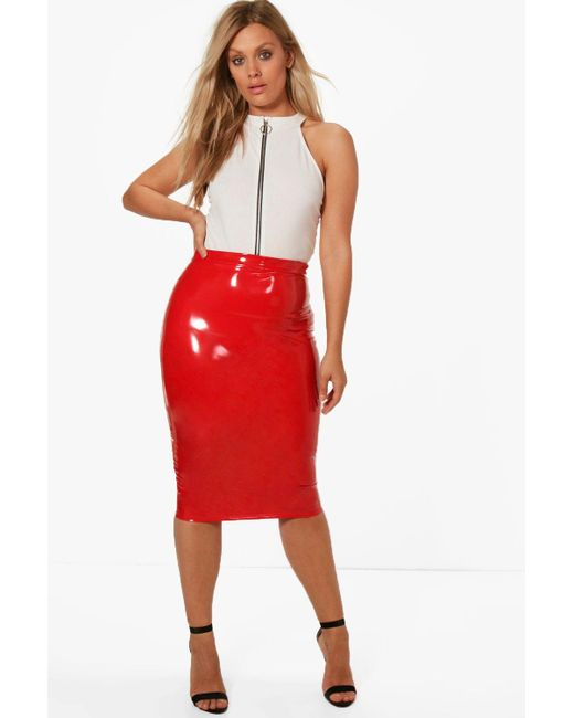 Boohoo - Red Plus High Shine Pu Midi Skirt - Lyst