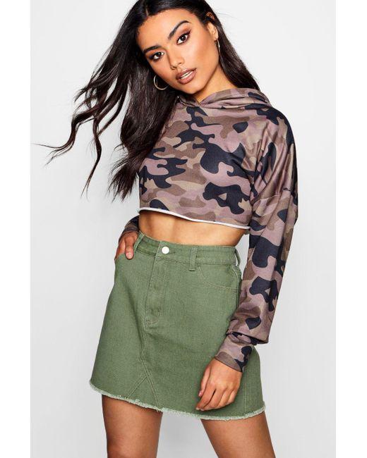 Boohoo - Green Coloured Denim Mini Skirt - Lyst