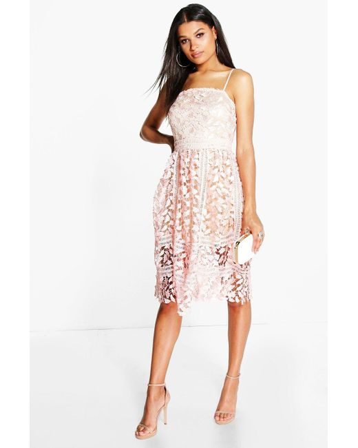 Boohoo - Multicolor Corded Lace Detail Midi Skater Dress - Lyst