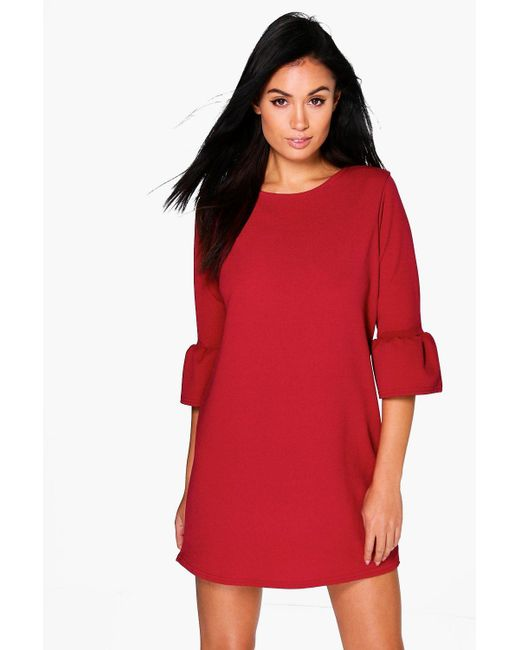 Boohoo - Multicolor Ruffle Sleeve Shift Dress - Lyst