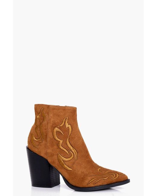 Boohoo | Brown Lola Stitch Detail Western Boot | Lyst