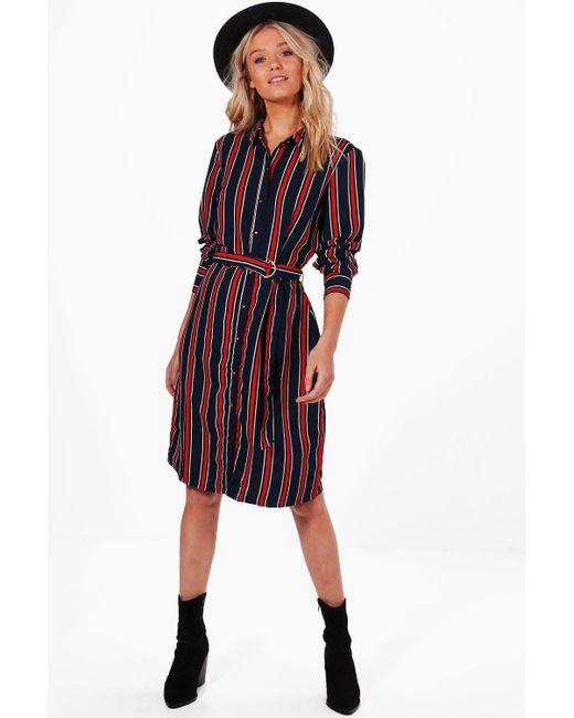 Boohoo | Blue Tilly Stripe Buckle Shirt Dress | Lyst