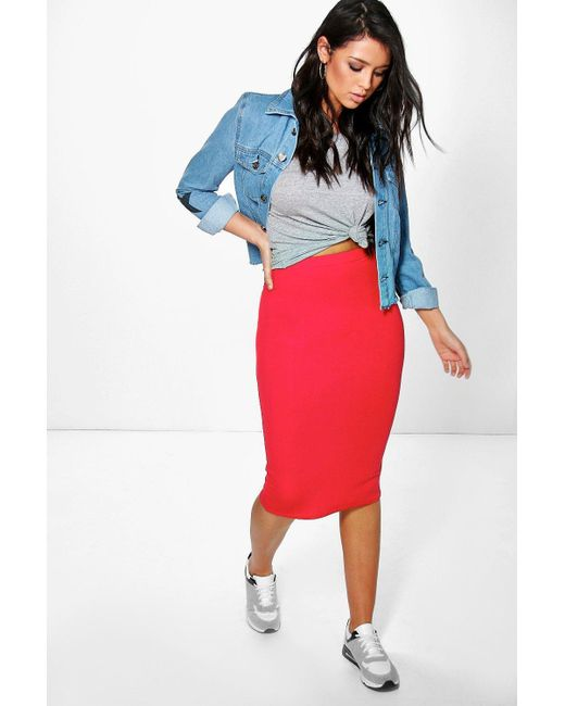 787258fd2c8 Lyst - Boohoo Basic Midi Jersey Tube Skirt in Red - Save 67%