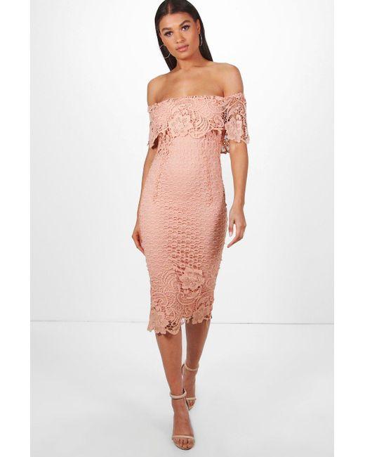 c5ec1e11c543 Boohoo - Pink Boutique Lace Off Shoulder Midi Dress - Lyst ...