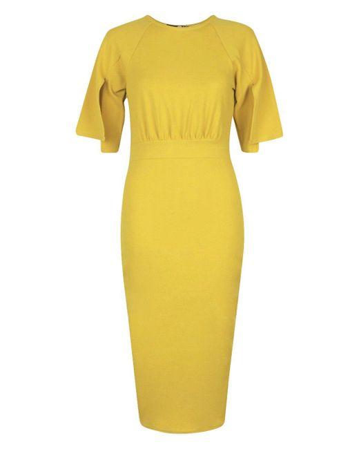 bca0397ade94 ... Boohoo - Yellow Split Sleeve Detail Wiggle Midi Dress - Lyst