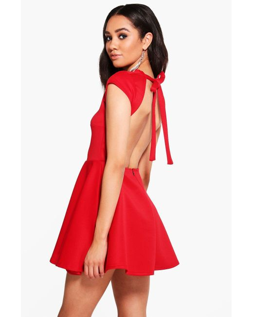 Boohoo   Red Petite Hailey Scuba Backless Skater Dress   Lyst