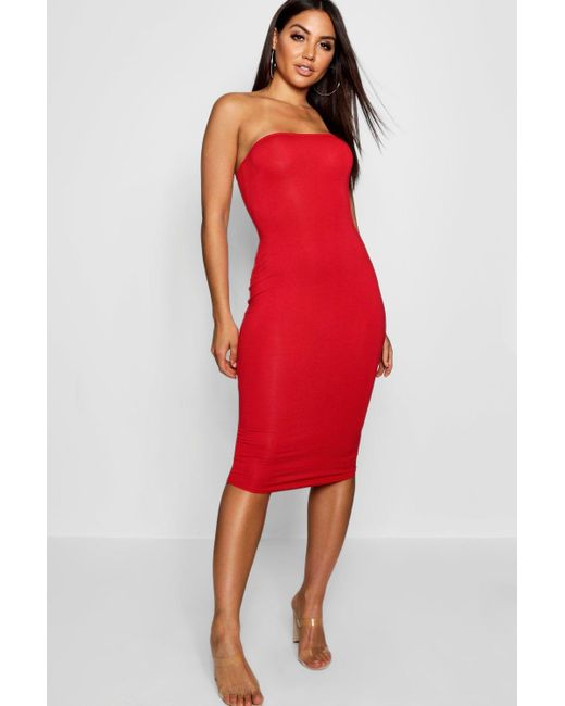6f52393c71db Boohoo - Red Bandeau Bodycon Midi Dress - Lyst ...