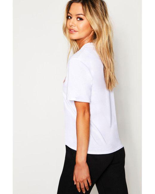 38ca399b519a ... Boohoo - Black Petite 'peachy' Slogan T-shirt - Lyst