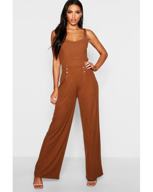 420412fcfe2 Boohoo - Brown Button Detail Wide Leg Jumpsuit - Lyst ...