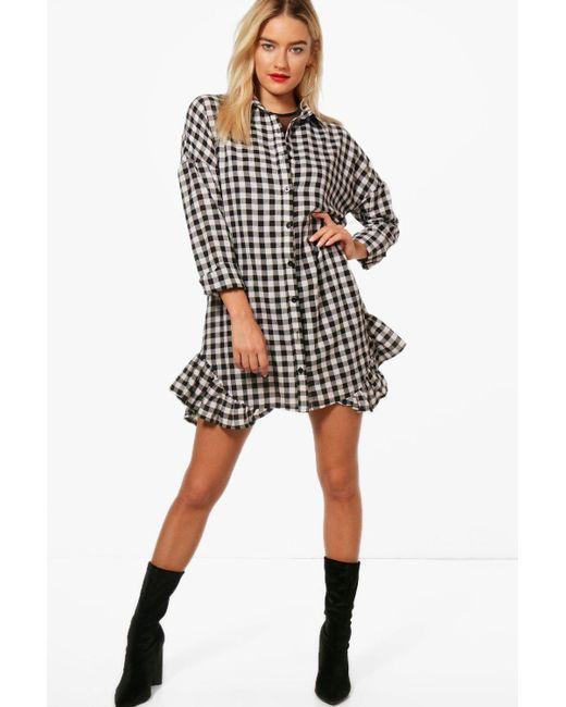 Boohoo - Black Vera Gingham Ruffle Hem Shirt Dress - Lyst