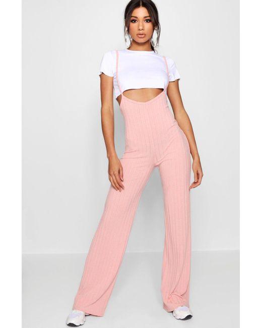 3b67bc01f3b4 Boohoo - Pink Crop T-shirt Strappy Jumpsuit Co-ord Set - Lyst ...