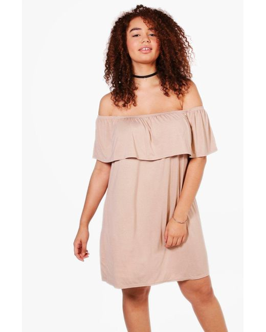 Boohoo | Pink Plus Pixie Off The Shoulder Dress | Lyst