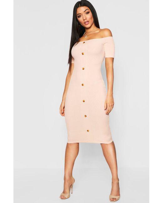 54d285b67578 Boohoo - Pink Mock Horn Button Rib Off Shoulder Midi Dress - Lyst ...