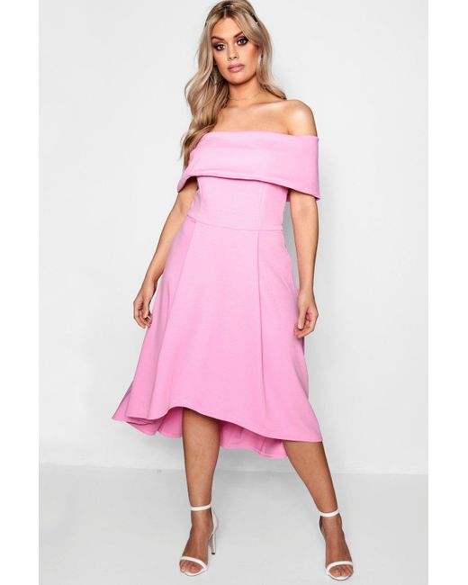 1e6abbcd3d92 Boohoo - Pink Plus Double Layer Midi Dress - Lyst ...