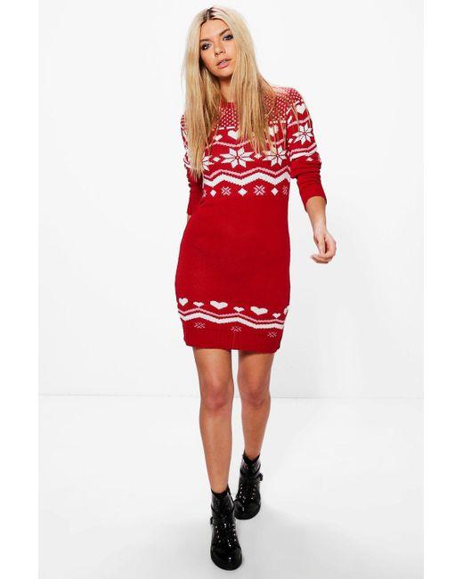 Boohoo Freya Heart Fairisle Christmas Jumper Dress in Red | Lyst
