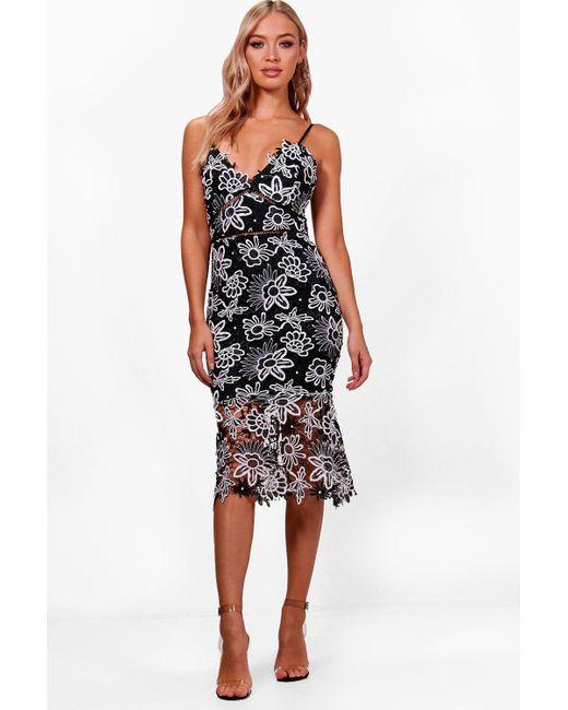 e246e82f1234 Boohoo - Black Boutique Floral Lace Back Midi Dress - Lyst ...