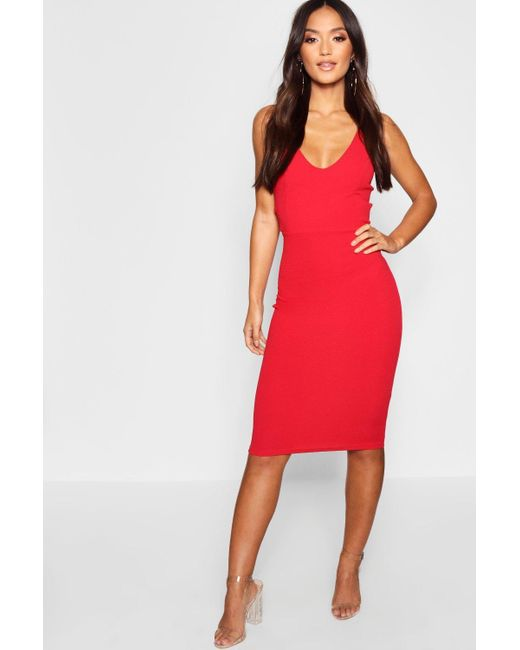 d8d73ad2d4318 Boohoo Petite Side Buckle Detail Midi Dress in Red - Save 50% - Lyst