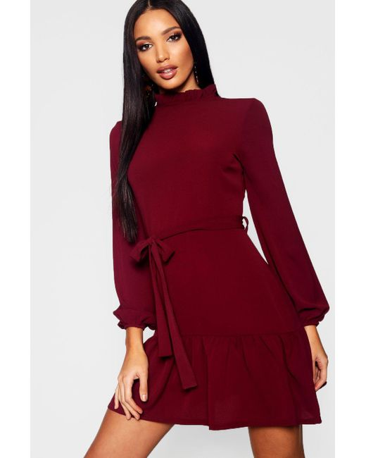 218391325695 Boohoo - Red Woven Ruffle Detail Neck Tie Waist Skater Dress - Lyst ...