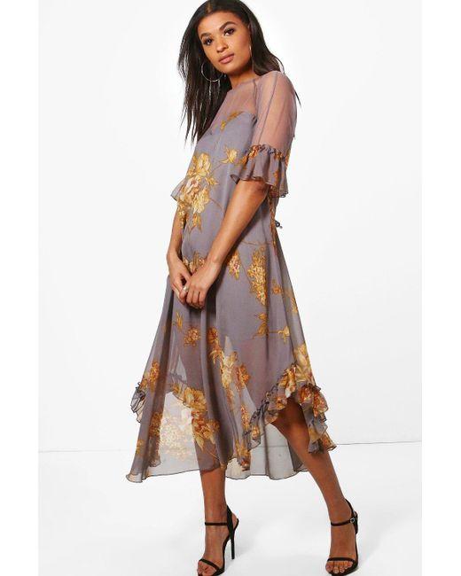 Boohoo | Gray Boutique Fiona Floral Ruffle Maxi Dress | Lyst
